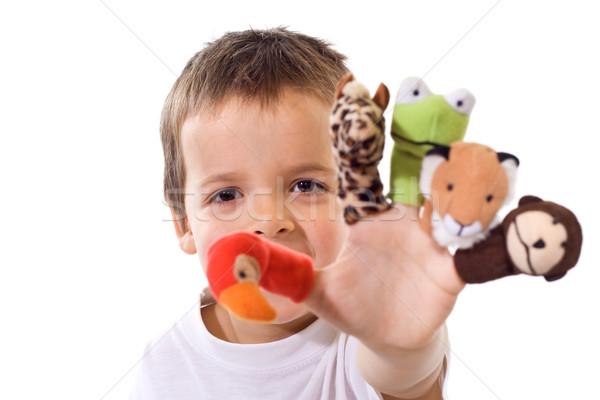 Menino dedo jogar feliz olhos criança Foto stock © ilona75