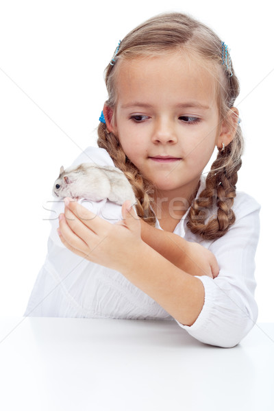 Wait you little devil - little girl and her hamster Stock photo © ilona75