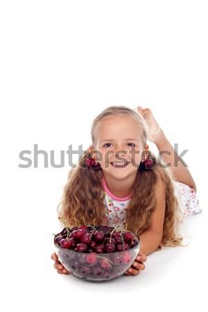 Amour cerises petite fille fraîches été fruits Photo stock © ilona75
