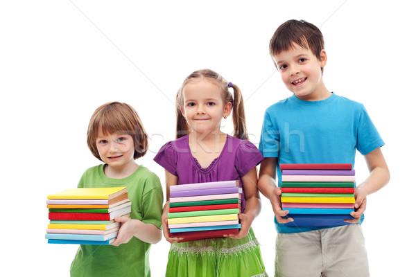 Souriant maternelle école enfants livres coloré Photo stock © ilona75