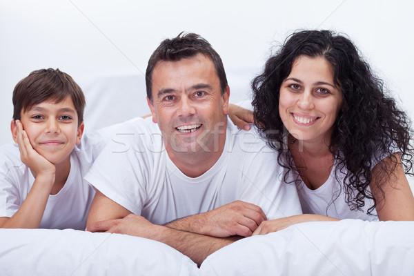 Boldog család portré fiú együtt szülők szeretet Stock fotó © ilona75