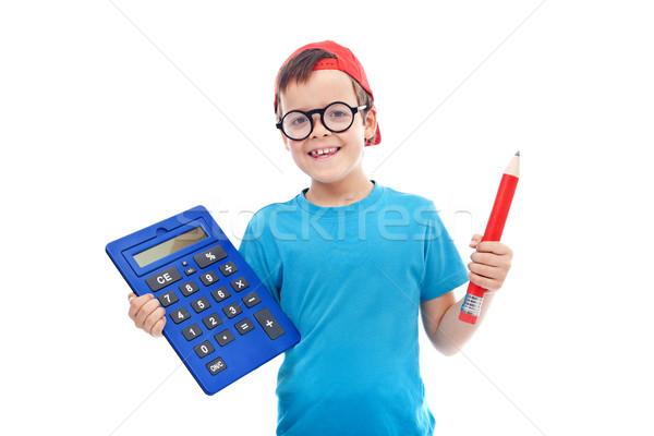 Erkek büyük hesap makinesi kalem geek Stok fotoğraf © ilona75