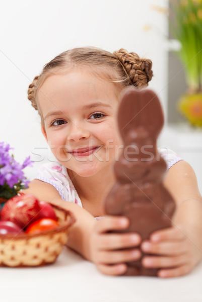 Happy easter girl with chocolate bunny Stock photo © ilona75