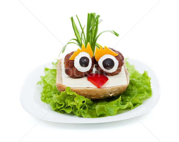Meatball eyed onion haired creative sandwich Stock photo © ilona75
