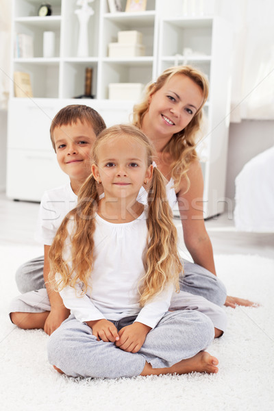 Foto stock: Feliz · a · la · gente · casa · feliz · saludable · personas · retrato