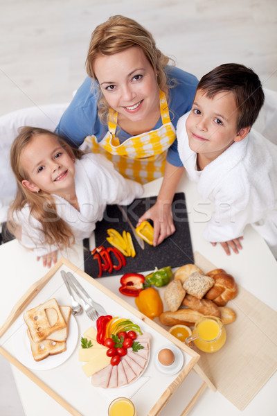 Preparing healthy breakfast together - top view Stock photo © ilona75