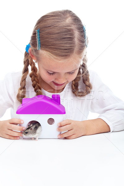 Little girl and her hamster Stock photo © ilona75