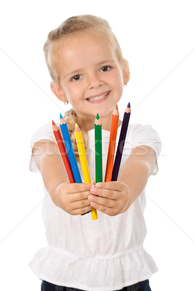 Little girl with lots of pencils - smiling Stock photo © ilona75