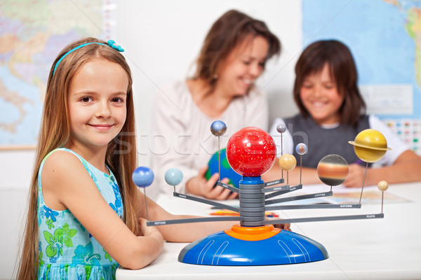 Aardrijkskunde klasse meisje leren zonnestelsel schaal Stockfoto © ilona75