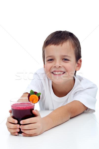 Happy healthy kid with fresh fruit juice Stock photo © ilona75