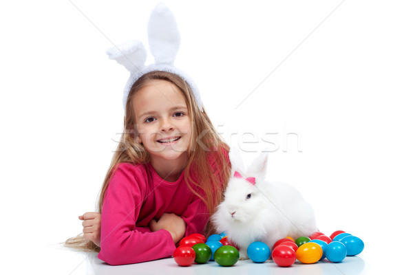 Happy girl with her easter rabbit Stock photo © ilona75