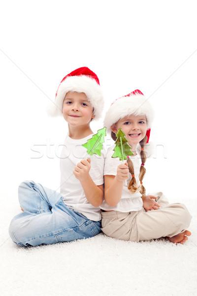 Foto stock: Navidad · ninos · dulces · palo · sesión · piso