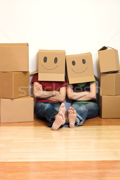 Feliz casal nova casa sorrir casa Foto stock © ilona75