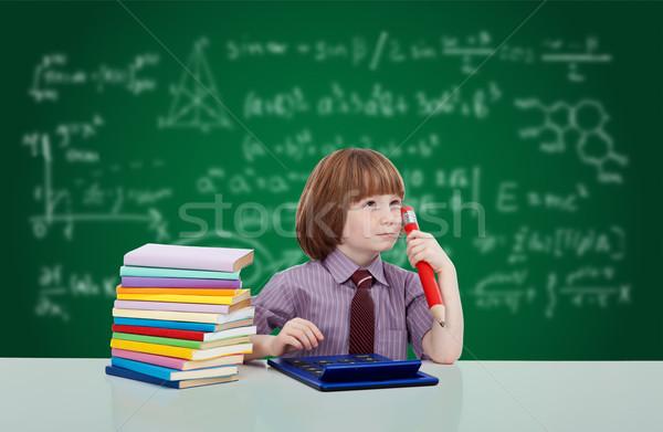 Jongen genie jonge kind boeken Blackboard Stockfoto © ilona75