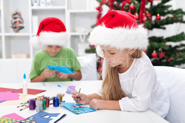 Kids making christmas greeting cards Stock photo © ilona75