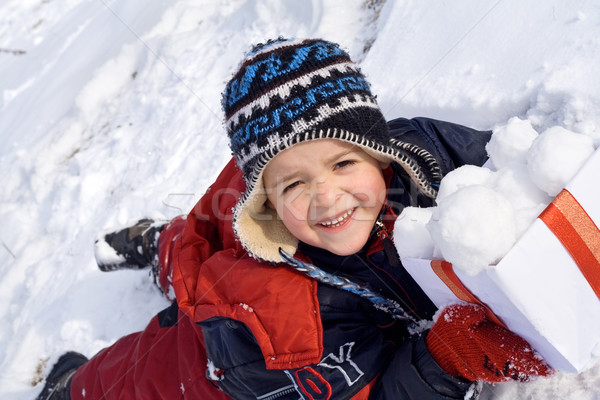 Felice kid finestra bambino neve Foto d'archivio © ilona75