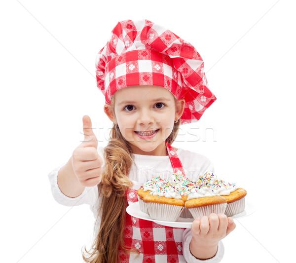 Enyém első muffinok kész kislány szakács sapka Stock fotó © ilona75
