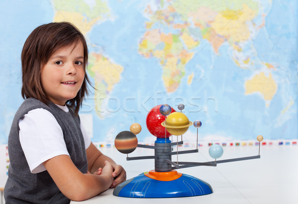 Young schoolboy learning about the solar system Stock photo © ilona75