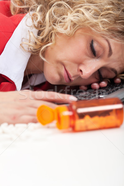 Working too much - overworked woman asleep in the office Stock photo © ilona75