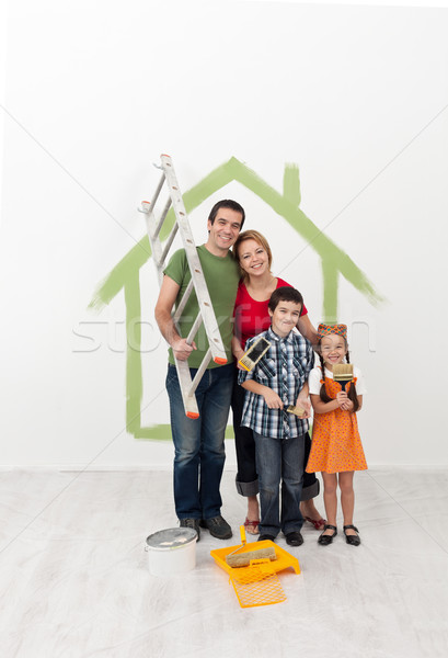 Family painting their home - with the kids helping Stock photo © ilona75