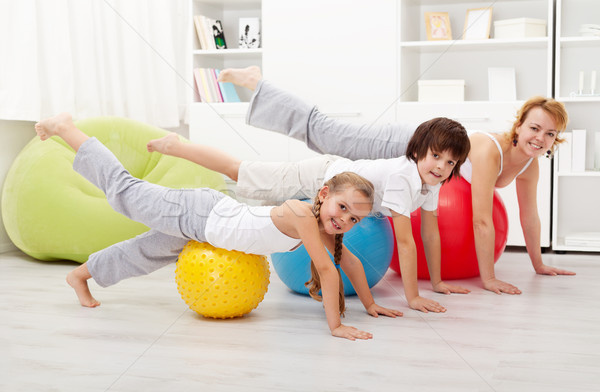 Stock photo: People doing stretching exercises