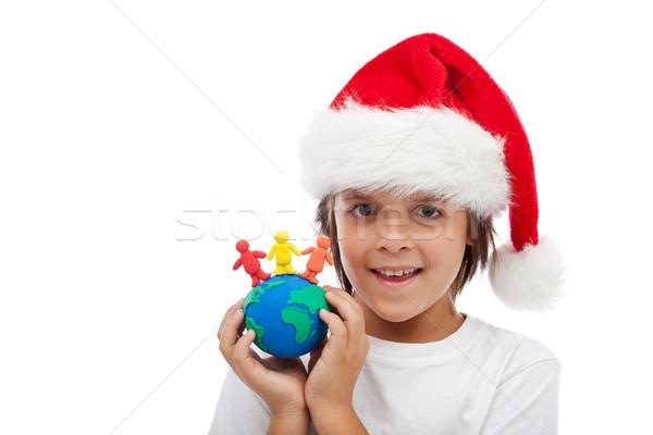 Сток-фото: праздновать · Рождества · вокруг · Мир · вместе