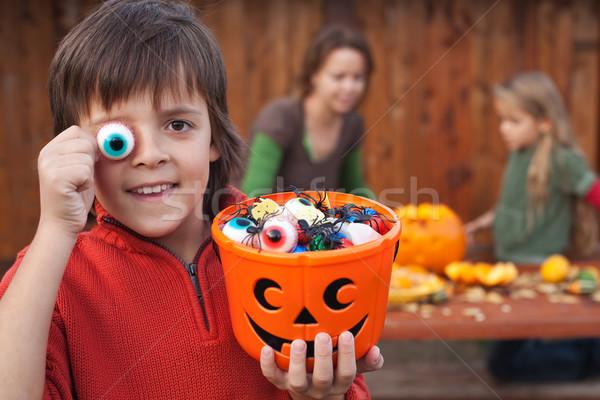 Boy with Halloween stuff preparing for the night Stock photo © ilona75