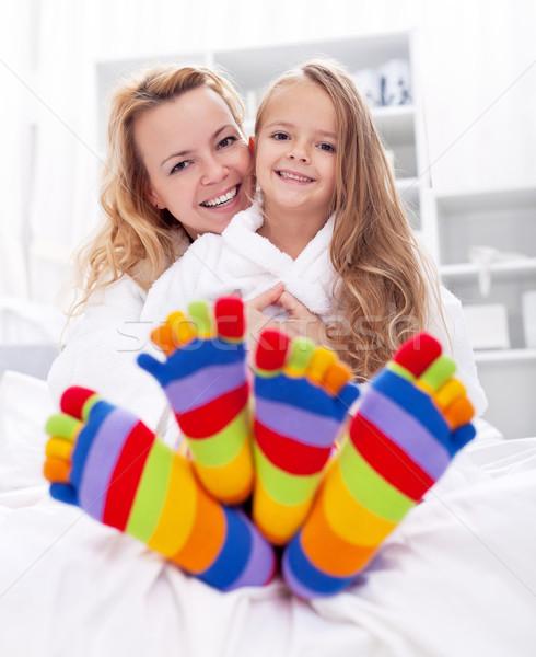 Niña feliz mujer casa bano colorido Foto stock © ilona75