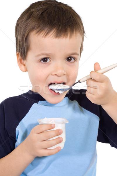 Peu Kid manger yaourt cuillère Photo stock © ilona75