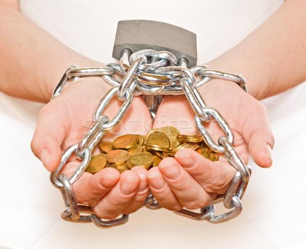 Besparing penny geld vrouw handen gouden Stockfoto © ilona75