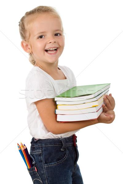 Stockfoto: Gelukkig · meisje · school · boeken · gekleurd · potloden