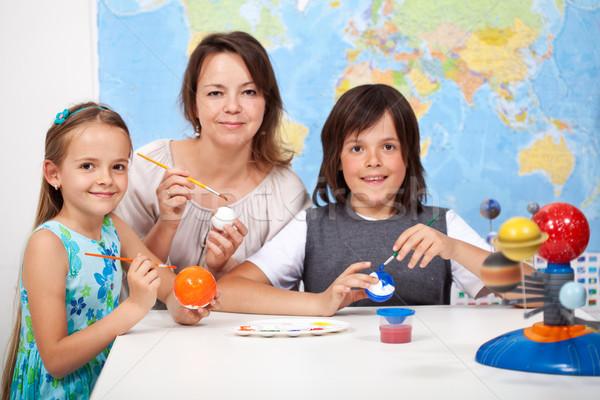 Ciência arte crianças escala modelo Foto stock © ilona75