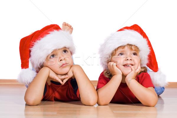 Navidad dos ninos nina ojo Foto stock © ilona75