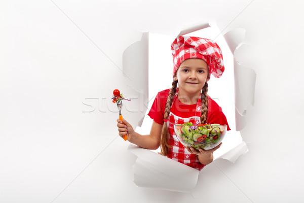 Todays menu - little girl presenting vegetable salad Stock photo © ilona75