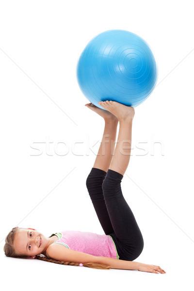 Jong meisje sterkte evenwicht groot rubber Stockfoto © ilona75