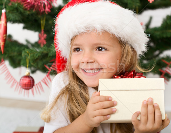 Foto stock: Feliz · little · girl · natal · apresentar · sorridente · menina