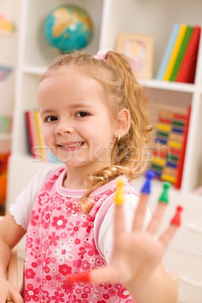 Néz enyém manikűr kislány játszik játék Stock fotó © ilona75