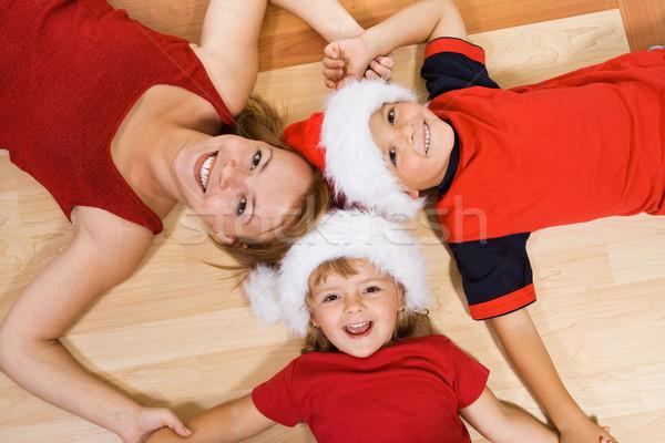 Foto stock: Familia · piso · Navidad · mujer · ninos