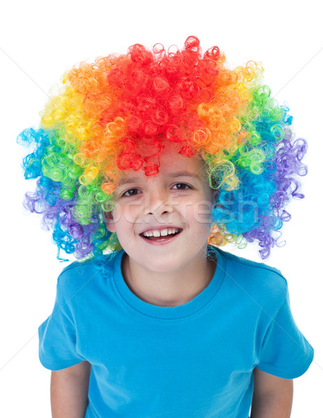 Happy clown boy - isolated portrait Stock photo © ilona75