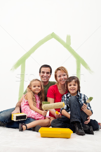 Family with two kids repainting their home Stock photo © ilona75