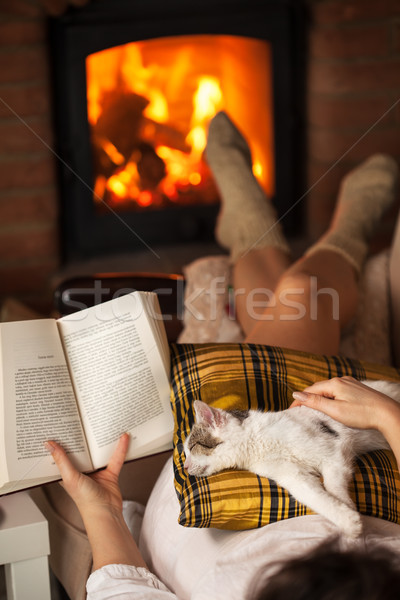 Woman reading by the fire - relaxing with her cat Stock photo © ilona75