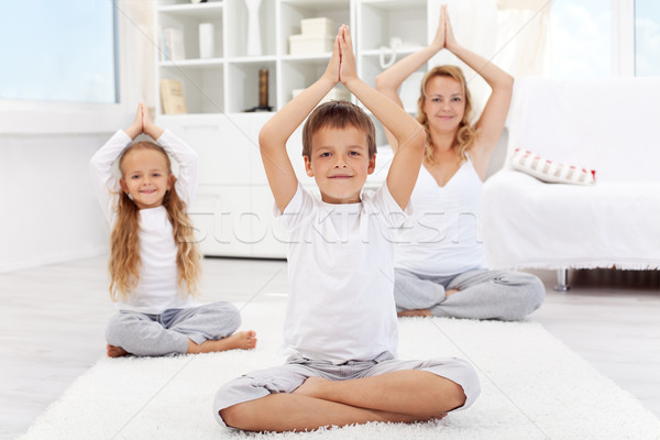 Happy balanced life - people doing yoga exercise Stock photo © ilona75