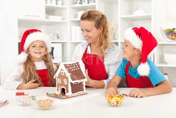 Santa came earlier this year - family having fun in the kitchen Stock photo © ilona75