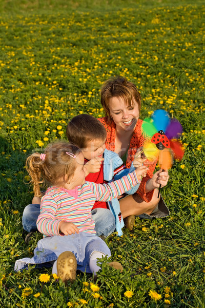 Woman and kids playing with a windmill toy Stock photo © ilona75