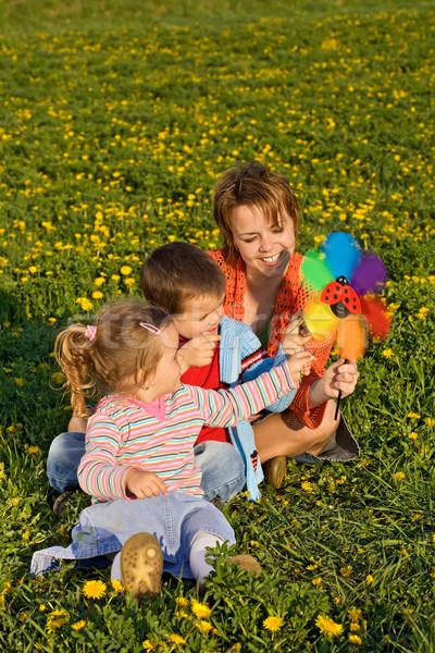 Vrouw kinderen spelen windmolen speelgoed lentebloem veld Stockfoto © ilona75