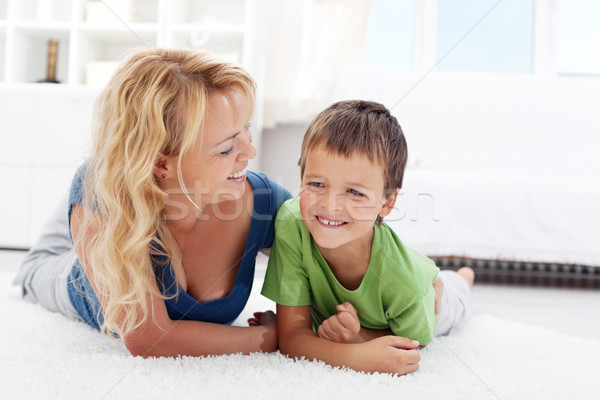 Happy morning - boy playing with mother Stock photo © ilona75