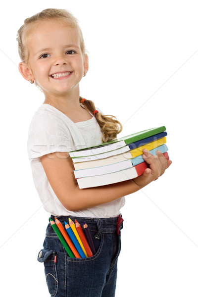 Photo stock: Petite · fille · livres · école · heureusement · fille