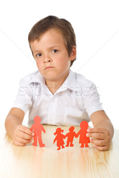 Divorce concept with sad kid-focus on hands Stock photo © ilona75