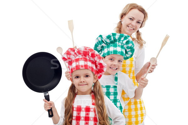 Happy chefs family Stock photo © ilona75