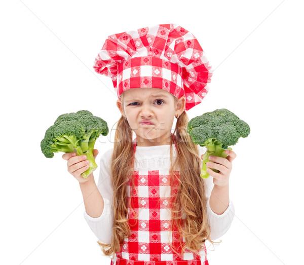Brokkoli gyermek szakács sapka tart lány arc Stock fotó © ilona75